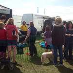 A busy stand at a dog show
