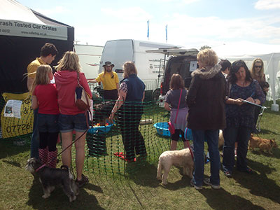 Busy stand at a dog show